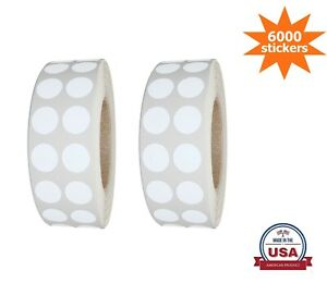 Color-Coding White Dot Stickers 10MM (3/8 Inch)  6000 Labels on Rolls