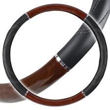 """Big Rig Steering Wheel Cover 18"""" Dark Wood Grain Luxury Syn Leather Snug Fit"""