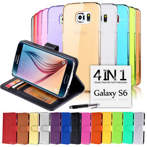 Wallet & Gel 4in1 Accessory Bundle Kit Case Cover For Samsung Galaxy S6