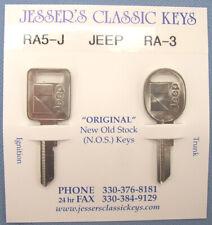 NOS '86 '87 Very Rare Original RA-5 RA-3 JeeP AMC Pair Nickel Keys 1986 1987