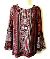 WOMEN'S CHICO'S PAISLEY FLORAL PRINT LONG BELL SLEEVE STRETCHY TUNIC TOP 0 (S)