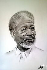 Morgan Freeman - ritratto portrait grafite e carboncino cm. 33 x 48