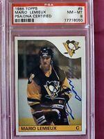 1985 Topps hockey Mario Lemieux autograph RC PSA 8 PSA DNA Pittsburgh Penguins
