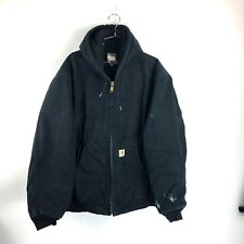 Vintage Carhartt Denim Work Jacket Mens Size XL Black 90s Distressed