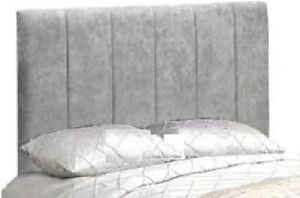 """Clarence Bed Headboard in Linen Fabric & Crushed Velvet Fabric in 26"""" Height"""