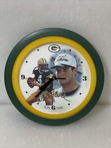 Wall Clock NFL Green Bay Packers Brett Favre Sun Time Wall Clock Vtg