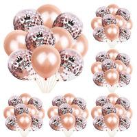 10PCS 12inch Rose Gold Glitter Ballons Foil Latex Confetti Happy Birthday Party