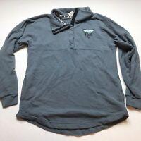 Victorias Secret PINK Blue 1/4 Snap Campus Fit Sweatshirt Sz XS Logo A1307