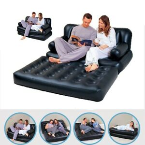 Inflatable Sofa Mattress Double Couch Bed Air Lounger 5in1 Airbed Flocked Multi