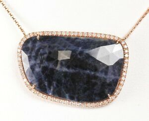 14k Rose Gold Sliced Blue Sapphire&Diamond Necklace( Dia 0.52cts, BS 31.50cts)