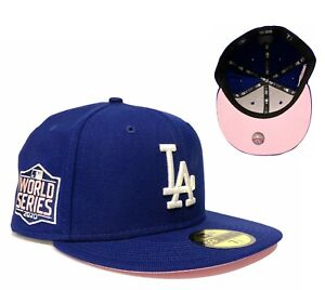 LA Dodgers 2020 World Series Side Patch 59Fifty Fitted Hat Cap Pink Undervisor