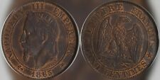1865-A France NapoleonIII 5 Centimes ANACS MS63RB Old Slab