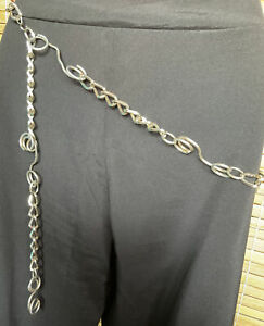 Funky Retro Boho Abstract Handcrafted Silver Metal Statement Hip Belt One Size