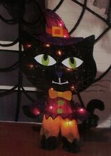 "THANKSGIVING HALLOWEEN FALL OUTDOOR LIGHTED TINSEL BLACK CAT PORCH FIGURE 22"" T"