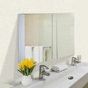 Wall Cabinet Mirror Bathroom Modern Shelf Storage Double Door MDF
