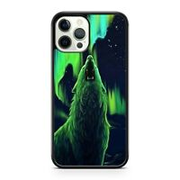Majestic Howling Space Wolf Animal Green Colourful Star Light Phone Case Cover
