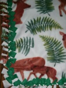 "Deer (Buck, Doe, Fawn) WARM HANDMADE 2 layer fringe tie blanket/throw  60""X110"""