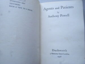 Anthony Powell – Agents and Patients – First UK Edition 1936 - Duckworth SCARCE