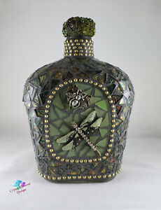 MOSAIC Green & Gold  Bottle - Hand Designed MOSAIC BOTTLE IS FOR YOUR HOME W215