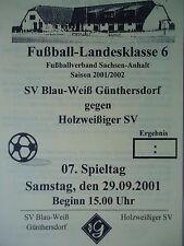 Programm 2001/02 Blau Weiß Günthersdorf - Holzweißiger SV