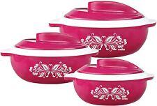 Cello Pink Hot Serve Plastic Casserole Set, 3-Pieces (500 ML,850 ML,1.5 Litres)