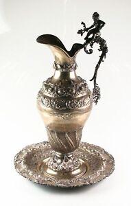 Antique Art Nouveau Cherub Repousse Silver Water Pitcher and Platter