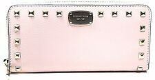 Michael Kors Studded Leather Zip Around Continental Wallet Clutch,Blossom