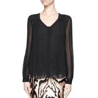 Diane Von Furstenberg Lane Top Black Sheer Silk Blouse Women's Size 6 H10255