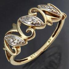Low Set Everyday Open Scroll 9k Solid Yellow GOLD 3 DIAMOND Right Hand RING SZ M