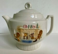 Vintage Porcelier Vitreous Teapot Country Hearth Spinning Wheel Cottage Pattern