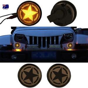 AU Smoke Lens Turn Signal Front Amber Indicator Light Fit Jeep Wrangler 07-18 JK