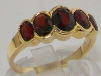 9ct Yellow Gold Ladies Large Garnet 5 Stone Ring