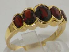 9ct Yellow Gold Ladies Large Garnet 5 Stone Ring