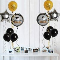 Congrats Balloons 15pcs Kit for Graduation Party Decorations Gold Black Silver