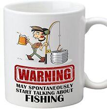 Warning May Spontaneously Start Talking About Fishing Coffee Mug Rod Reel Angler