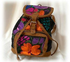 Colorful Floral Embroidered BOHO Brown Suede Strap Backpack Zipper Pocket Bag