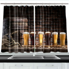 Beer and Ale Barrel Kitchen Curtains 2 Panel Set Decor Window Drapes 55 X 39""