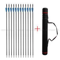 12x Archery Hunter Nocks Fletched Fiberglass Arrows Target Practice +Quiver Tube