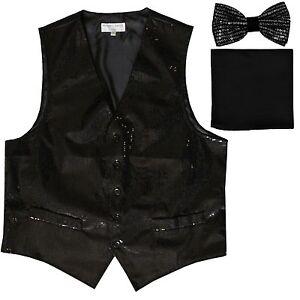 New formal Men's Sequins Black Tuxedo vest Waistcoat_bowtie & black hankie party