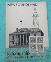 Vintage Citizenship for the Canadian Forces Newfoundland Booklet