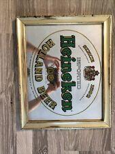 Heineken Vintage Gold Holland Beer Wall Bar Advertising Mirror Sign Brass 14x17