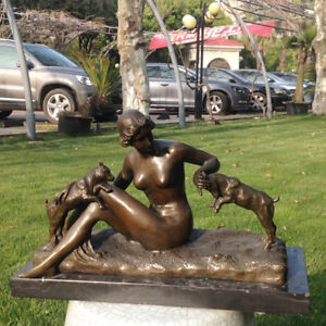 Art Deco handmade copper Sculpture nude beauty girl Pet dog Bronze Statue