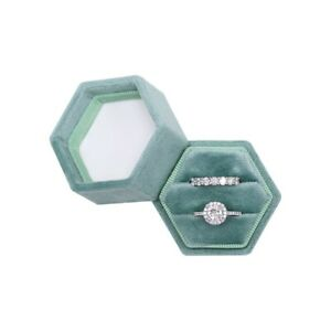 7 Color Options Hexagon Velvet Double Slots Ring Heirlooms Box Engagement Ring