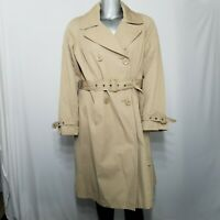 Jones NY Trench Coat XL Women's Kahki Tan Double Breasted Belt Collar Pockets