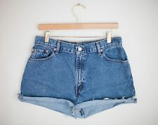Vintage LEVI'S Medium/Dark Wash High Waisted Cut Offs Cuffed Denim Shorts - 31