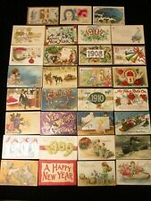 Collection Of 31 Old 1900s Antique / Vintage Happy New Year Paper Postcards