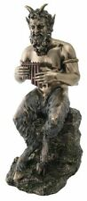9.5 Inch Pan Greek God of  Wild & Nature Sitting with Flute Statue Figure Faun