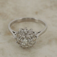 Diamond Cluster Ring 18ct White Gold Size M