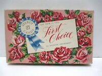 Vintage 1955 First Choice All Occasion Greeting Cards BOX ONLY Roses Blue Ribbon