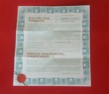 ROLEX 11823 President Day Date Gold Guarantee Warranty Certificate